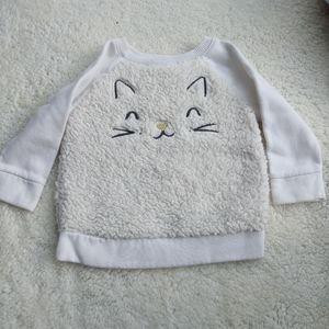3/$20🎀Fluffy kitty sweatshirt size 12-18 months